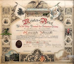 Meister-Brief Heinrich Schmidt